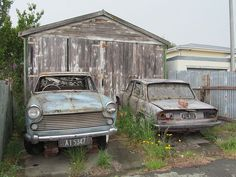 Defunct Cars (Morris Oxford and Triumph 2000 Mk2) in Timaru, New Zealand