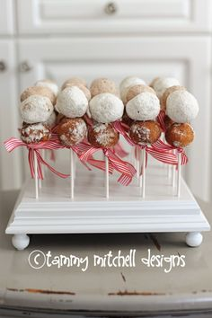 Party Food Ideas: Donut Holes on a stick So easy, so cute