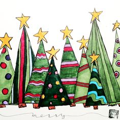 Three whimsical christmas trees more - salvabrani Watercolor Christmas Cards, Christmas Drawing, Christmas Paintings, Watercolor Cards, Painted Christmas Cards, Christmas Rock, Christmas Projects, All Things Christmas, Christmas Holidays
