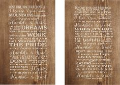 Mother's Day Gift - Always Stay Humble & Kind Lyrics Set of 2 Wood Signs Canvas Wall Hangings Graduation Gift, Christmas, College, Dorm Room