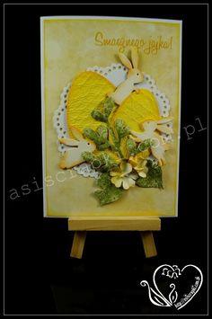 Kartka Wielkanocna żółta #asiscrapki #eastercard