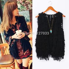 Cheap De gama alta de otoño líneas gruesas ahueca hacia fuera el ganchillo de espesor alta densidad de flecos tejer caliente chaleco negro mujeres, Compro Calidad Chalecos directamente de los surtidores de China: High-end Spring Autumn Vintage embroidery Bohemia slim all-match basic one-piece dress long-sleeveUS $ 26.85/pieceHigh-e