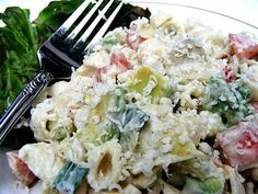 Avocado Caesar Pasta Salad.