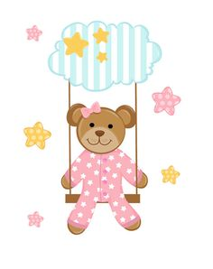 Teddy Bear Swing Wall Art Mural Decals Cloud Stars Baby Girl Nursery Stickers  #decampstudios