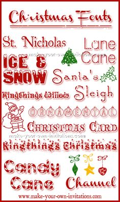 Christmas Fonts. Festive fonts for the festive holiday season. good for invitations, cards, printables etc.