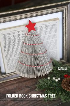 Learn how to make this pretty folded book Christmas tree with an old book from the thrift store. Easy Christmas craft. Book Christmas Tree, Christmas Tree Crafts, Christmas Is Coming, Simple Christmas, Red Christmas, Christmas Time, Christmas Ornaments, Xmas, Christmas Ideas