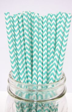 Paper Straws – Chevron Aqua Blue (Pack www.katespartysho … - Home Page Tiffany Blue Party, Tiffany Theme, Azul Tiffany, Turquoise Chevron, Aqua Blue, Green Chevron, Mint Green, Mermaid Bridal Showers, Turquoise Party
