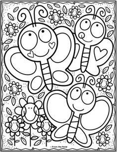 Kindergarten coloring pages - Coloring Club — From the Pond Spring Coloring Pages, Cute Coloring Pages, Disney Coloring Pages, Coloring For Kids, Printable Coloring Pages, Free Coloring, Coloring Pages For Kids, Coloring Sheets, Coloring Books