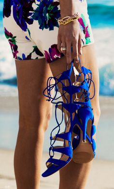 Schutz Blue Mid Calf Lace Up Strappy Heeled Sandals by What Courtney Wore