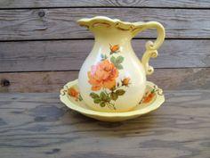Vintage Yellow Ceramic Pitcher and Bowl Set With Orange Roses, Shabby Chic Wash Basin Bowl Set, Vintage Home Decor, Cottage Chic
