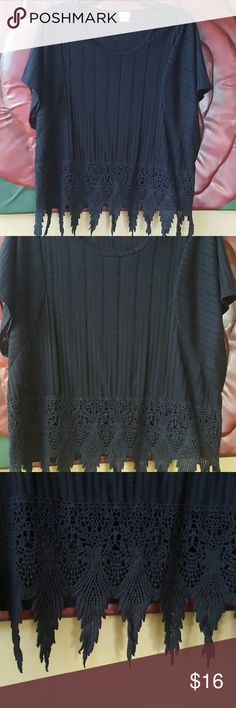 Beautiful black boxy top with trim! This is a beautiful big and boxy partially sheer lightweight top, with large beautiful knitted trim at the bottom, in excellent condition! Charming Charlie Tops