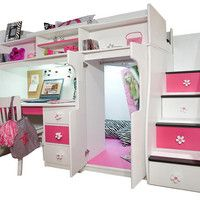 Elena's White Twin Size Secret Stairway Loft Bed