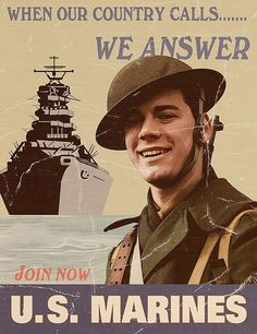 From promises of exotic adventures to the promise of firsthand vengeance against America's enemies, 30 incredible vintage U. Marine Corps Recruiting, Marine Corps Humor, Us Marine Corps, Once A Marine, My Marine, Marine Life, Ww2 Propaganda Posters, Usmc Quotes, War Photography