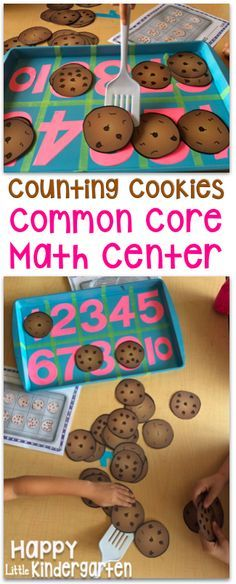 Attività matematica: contiamo i biscotti! Students place the cookies on the correct section of a tens frame. The perfect counting center for kindergarten! Numbers Preschool, Preschool Math, Kindergarten Classroom, Montessori Elementary, Elementary Schools, Montessori Art, Kindergarten Centers, Teaching Kindergarten, Math Centers
