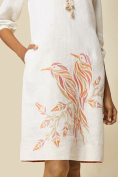 Hand Embroidered Mesh Sleeve Linen Shift Dress