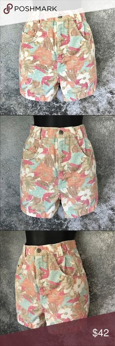 """Vintage high waist floral jean shorts 28"""" waist Bonjour brand high waist floral jean shorts. They says size 11/12, but vintage or older styles have changed in sizing so they are approximately a 28"""" waist. The inseam measures approximately 3 1/4."""" Smoke free home. GUC. I also offer bundle discounts. Always open to reasonable offers. Bonjour Shorts Jean Shorts"""