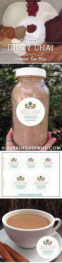 Homemade Dirty Chai Instant Tea Mix – Great for Gifts! Plus FREE Jar Labels Down… Homemade Dirty Chai Instant Tea Mix – Great for Gifts! Non Alcoholic Drinks, Fun Drinks, Yummy Drinks, Beverages, Cocktails, Healthy Drinks, Chai, Jar Gifts, Food Gifts