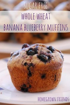 Sugar Free Whole Wheat Banana Blueberry Muffins (www.homegrownfriends.com)