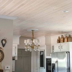 Plank Popcorn Ceiling With Lightweight Tongue And Groove Wood Planks