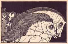 Faust and Mephistopheles on their steeds, Faust by Goethe (1925) — Harry Clarke's Looking Glass | The Public Domain Review