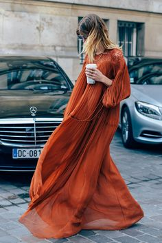 Veronika Heilbrunner, Chloé, Dresses, Orange, Paris, FW15