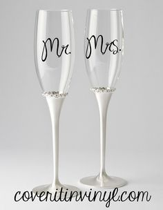 Mr. & Mrs. DIY Vinyl Decal for Toasting Flutes by CoverItInVinyl, $5.00