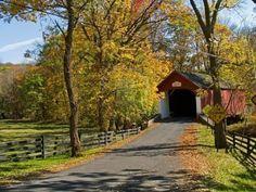 Knechts Covered Bridge in rural Bucks County, Pennsylvania.