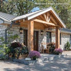 Pergola With Retractable Canopy Front Porch Remodel, House Front Porch, Front Porch Design, Home Porch, Porch Roof, Front Porches, Home Exterior Makeover, Exterior Remodel, Porche Chalet