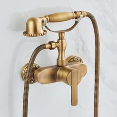 Antique Brass Shower Tap With Hand Shower Mixer Water Bathroom Tap TA0258 Waterfall Taps, Plating Techniques, Low Water Pressure, Shower Taps, Rainfall Shower, Chrome Finish, Antique Brass, Mixer