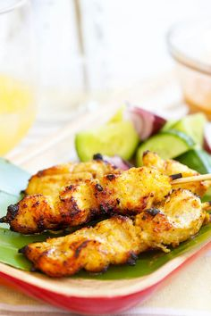 Chicken satay is a popular Malaysia dish of skewered chicken served with peanut sauce and rice cake. Easy and the most delicious chicken satay recipe   rasamalaysia.com