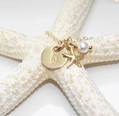 Beach Wedding Monogrammed gold circle initial charm necklace $32.00