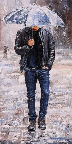 Rain Art Print featuring the painting Rainy Day by Emerico Imre Toth Walking In The Rain, Singing In The Rain, Draw Realistic, Rain Art, Umbrella Art, Rainy Days, Love Art, Oeuvre D'art, Painting & Drawing