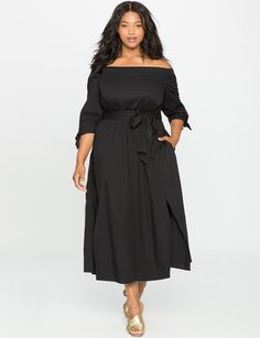 Studio Off the Shoulder Poplin Dress | Women's Plus Size Dresses | ELOQUII
