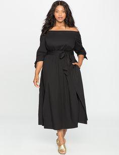 Studio Off the Shoulder Poplin Dress | Women's Plus Size Dresses | ELOQUII