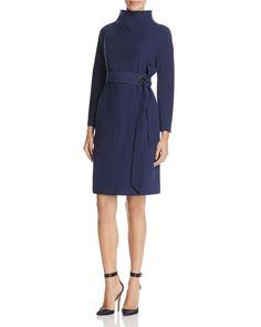 Armani Collezioni Tie-Front Funnel-Neck Dress