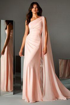 Amazing Chiffon One Shoulder Neckline Sheath/Column Evening/Prom Dresses in 2020 Western Wedding Dresses, Bridal Dresses, Prom Dresses, Formal Dresses, Flapper Dresses, Formal Wear, Casual Dresses, Girls Dresses, Bridesmaid Dresses