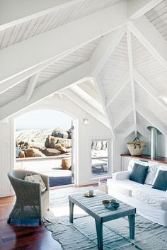 Beach Bungalow (cape town) - cottage style decorating - whitewash - blue and white- relaxed Beach Cottage Style, Coastal Cottage, Beach House Decor, Coastal Living, Home And Living, Home Decor, Living Room, Coastal Style, Cottage Living