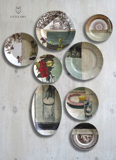 A neo-modern take on kitchen plate decor...(not sure who the artist is who did these lovelies...)