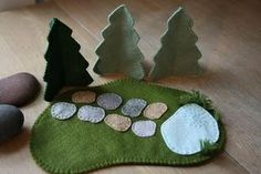 Felt Crafts for kids, forest lake and stones