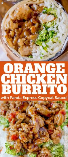 Orange Chicken Burrito with Panda Express Orange Chicken sauce takes just 30 minutes to make and tastes like a mix of two favorite takeout spots.