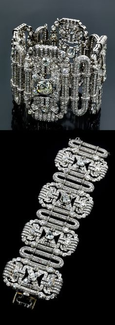A spectacular Art Deco platinum and diamond bracelet, about 1930. Composed of eight links set with old- and octagon-cut diamonds, weighing 42 carats total, with four large old-cut diamonds at centre.