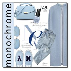 """""""Monochromatic Blues"""" by selena-gomezlover ❤ liked on Polyvore featuring Anja, Wrap, Joshua's, OPI, Victoria Beckham, monochrome, blues, trend and fashionset"""
