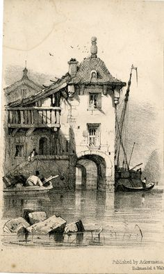 View of a building standing in water, with bell-shaped roof on tower with arched passage at ground level; figure on staircase at left, and figure on a boat below; another boat and a ship seen at right. Lithograph