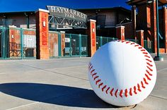 Haymarket Park...home of the Lincoln Saltdogs baseball team.  singing the star spangled banner standing on home plate and looking out to memorial stadium.