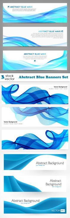 Vectors - Abstract Blue Banners Set