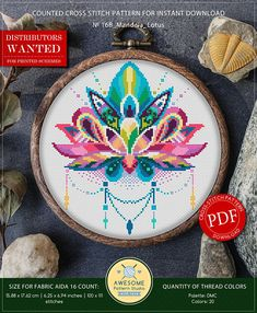 Mandala Lotus Cross Stitch Pattern for Instant Download  168