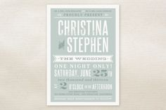 Woodtype Poster Wedding Invitations by Paper Dahli... at Minted.com