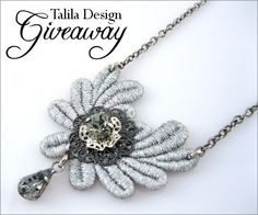 Jewelry #Giveaway to win gorgeous gray lace necklace by Talila Bridal Jewelry deadline is 11:59pm EST on October 5, 2013.