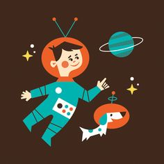 Creative Logo, Icon, Ty, Wilkins, and Illustration image ideas & inspiration on Designspiration Astronaut Illustration, Children's Book Illustration, Dachshund, Retro Futurism, Creative Inspiration, Wallpaper, Art For Kids, Character Design, Minis