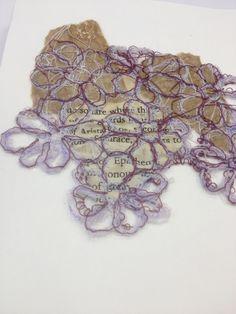 Jade Gregson: appliqué, stitch, vintage papers, floral fabric, buttons. ALevel textiles